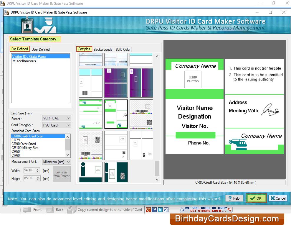 screenshots of gate pass id cards maker visitors management software